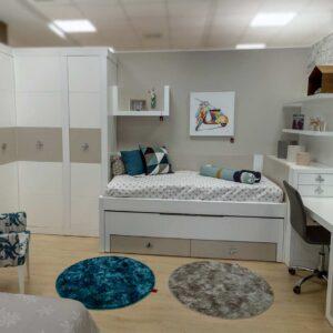 Dormitorio juvenil lacado blanco y arena
