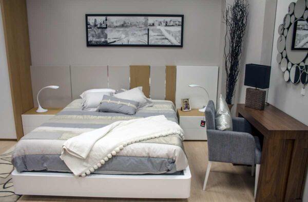 Tienda de muebles en vitoria Alcon mobiliaria Dormitorio de matrimonio en madera de roble y lacado blanco