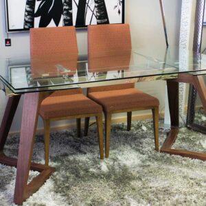Mesa comedor madera nogal y cristal