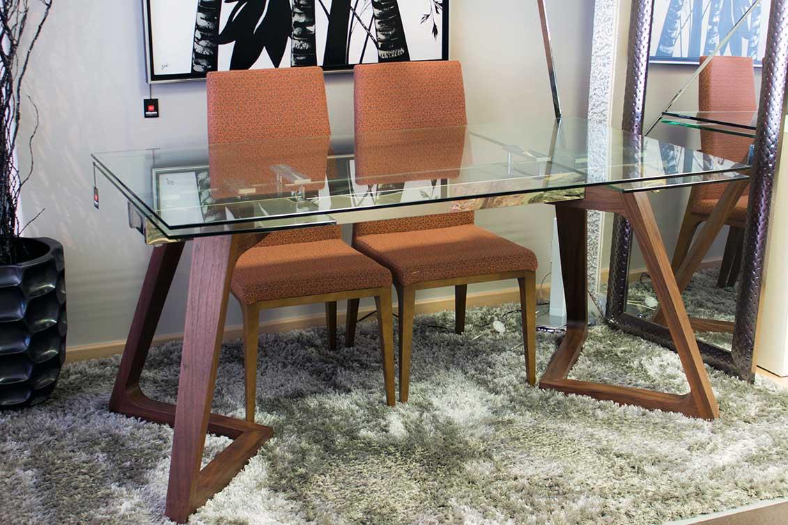 Mesa comedor madera nogal y cristal - Alcon Mobiliario