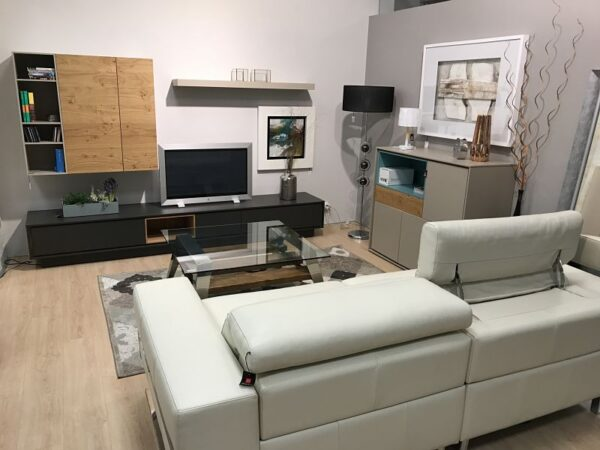 Salon completo moderno en madera roble y lacado