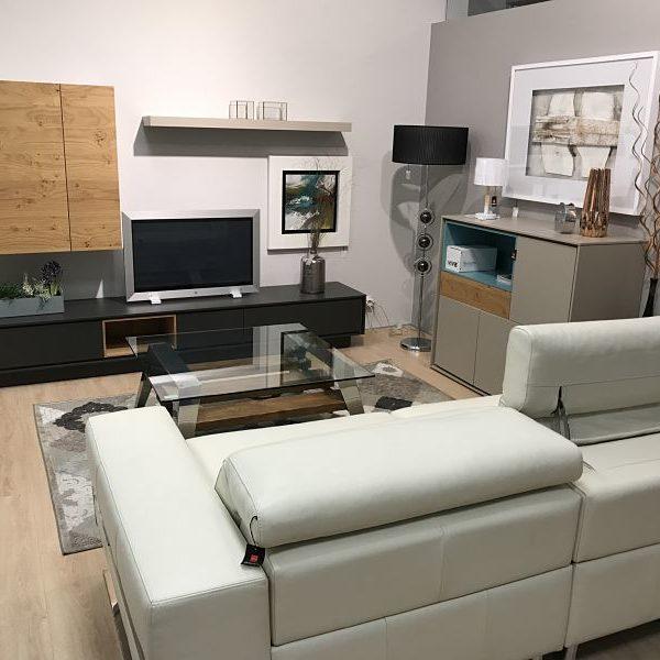 Salon completo moderno en madera roble y lacado - Tienda de muebles ...