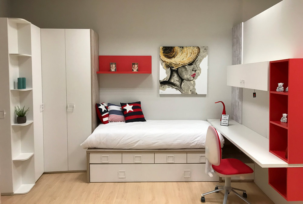 Dormitorio juvenil blanco madera r stica y rojo tienda for Compacto juvenil oferta