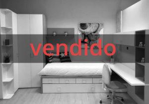 Dormitorio juvenil blanco y rojo
