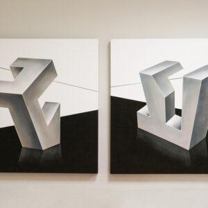 Cuadro abstracto cubista de tonos grises en Alcon Mobiliario.