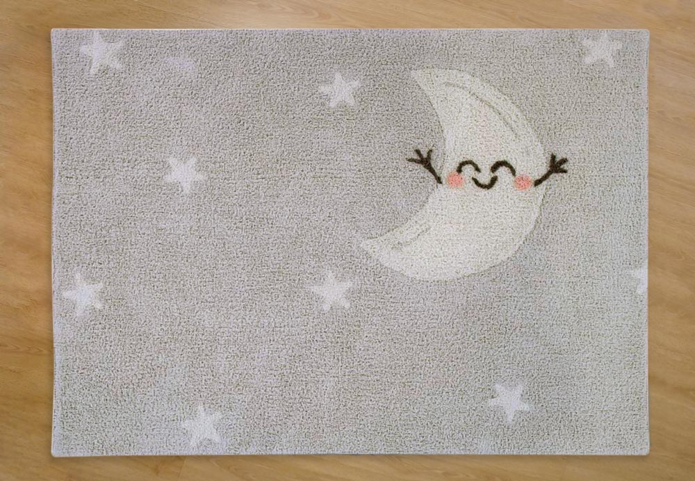 Alfombra lavable rectangular gris Happy Moon - Alcon Mobiliario