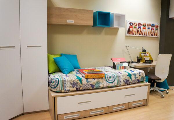 Dormitorio juvenil en madera azul y blanco - Alcon Mobiliario